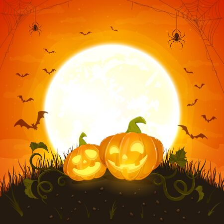 Two smiling pumpkins on orange background with moon. Holiday card with Jack O Lanterns, bats and spiders. Illustration can be used for holiday cards, invitations, banners. Ilustração
