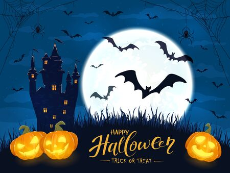 Lettering Happy Halloween and Trick or Treat with pumpkins, castle and moon. Jack O Lanterns, bats and spiders on night background. Illustration can be used for holiday cards, invitations and banners. Çizim