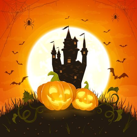 Two smiling pumpkins with dark castle on orange background with moon. Holiday card with Jack O Lanterns, bats and spiders. Illustration can be used for holiday cards, invitations, banners. Stok Fotoğraf - 130412789