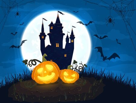 Two Happy pumpkins with castle and moon on blue night background. Halloween card with smiling Jack O Lanterns, bats and spiders. Illustration can be used for holiday cards, invitations and banners. Çizim
