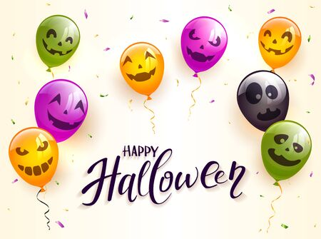 Lettering Happy Halloween on beige background. Colorful balloons with scary faces and confetti. Illustration can be used for holiday cards, invitations, children's clothing design and banners. Ilustração
