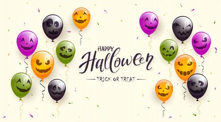 Lettering Happy Halloween and Trick or Treat on beige background. Colorful balloons with scary faces. Vector illustration can be used for holiday cards, invitations, clothing design and banners.