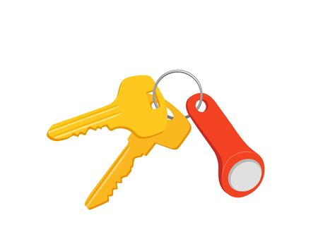 Set of golden keys isolated on white background. Bunch of keys vector image. Protection and security sign. Flat cartoon style classic retro door or padlock keys bunch hanging on ring. The concept of privacy.