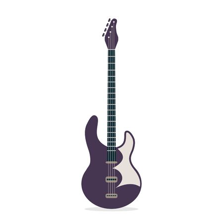 Electric guitar isolated on white background. Flat vector illustration can be used for clothing design, banners, card and flyers. Purple and black modern string musical instruments Illustration