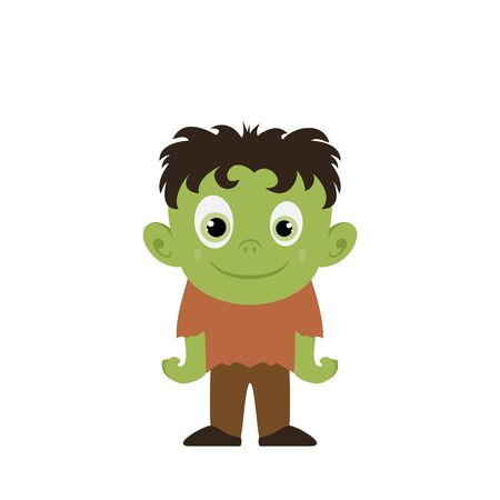 Green halloween monster isolated on white background. Cute cartoon character. Vector illustration can be used for holiday cards, children's clothing design, invitations, banners. 写真素材 - 130722865