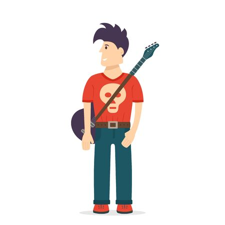 Man with rock guitar and skull on clothing isolated on white background. Rock star with funny hair. Cartoon character guitarist. Vector illustration can be used for rock concert design and flyers .