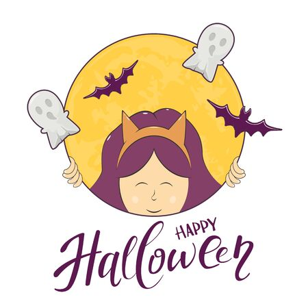 Girl with bats and ghosts in round banner and text Happy Halloween on white background. Illustration can be used for cards, childrens holiday or clothing design, invitations and banners. Illustration