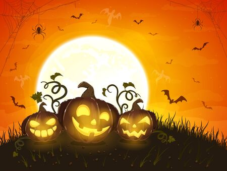 Halloween pumpkins with ghosts. Moon on orange night background. Card with Jack O' Lanterns, bats and black spiders. Illustration can be used for children's holiday design, cards, invitations, banners
