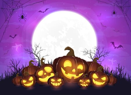 Purple halloween night. Set of pumpkins on moon background. Holiday card with Jack O' Lanterns, bats and spiders. Illustration can be used for children's holiday design, cards, invitations and banners.