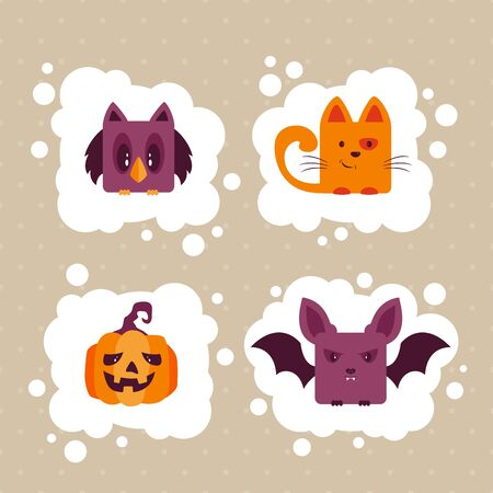 Halloween icons. Set of cute holiday characters: cat, pumpkin or Jack O' Lantern, bat and owl. Illustration can be used for children's holiday or clothing design, cards, invitations and banners.