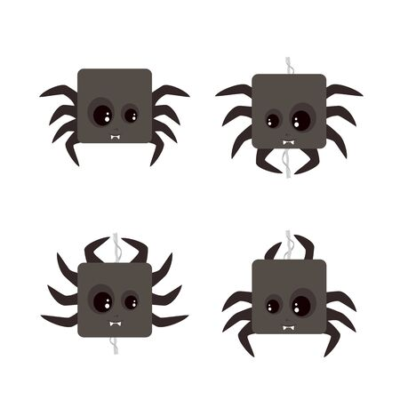 Set of cute spiders on cobweb. Black holiday icons for Halloween isolated on white background. Illustration can be used for children's holiday or clothing design, the decor of  cards and banners.