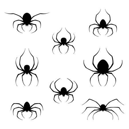 Set of black spiders icons isolated on white background. Scary insects for Halloween decorations. Illustration can be used for children's holiday or clothing design, cards, invitations and banners.