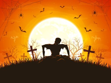 Dark silhouette sticks out of ground in cemetery. Orange night background with zombie, bats and spiders. Illustration can be used for children's holiday design, cards, invitations and banners.