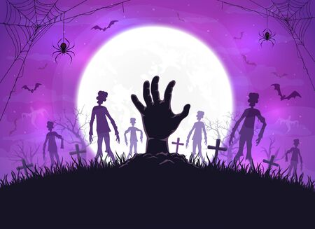 Hand sticks out of ground and dark silhouettes in cemetery. Purple night background with zombie, bats and spiders. Illustration can be used for children's holiday design, cards, invitations and banner