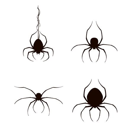 Set of black scary spiders isolated on white background. Insect icons for Halloween decoration. Illustration can be used for children's holiday or clothing design, cards, invitations and banners.