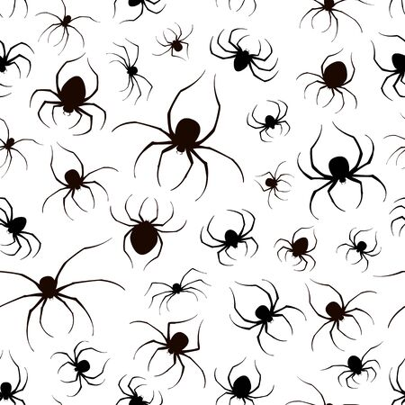 Seamless background with set of black spiders. Scary insects for Halloween decorations. Illustration can be used for childrens holiday or clothing design, cards, invitations and banners.