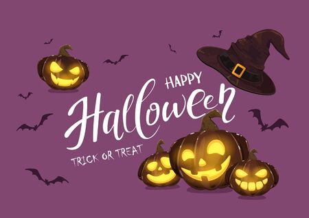 Purple background with pumpkins, bats and witches hat. Holiday card with lettering Happy Halloween and Jack O' Lanterns. Illustration can be used for children's holiday design, invitations and banners