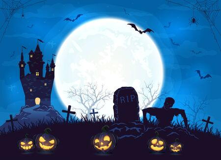 Terrible castle, silhouette sticks out of ground and pumpkins on cemetery. Blue Halloween background with zombie, bats and spider. Illustration can be used for childrens holiday design, cards and banners.