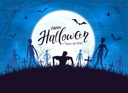 Dark silhouette sticks out of ground in cemetery. Blue Halloween night background with zombies, bats and spider. Illustration can be used for childrens holiday design, cards, invitations and banner