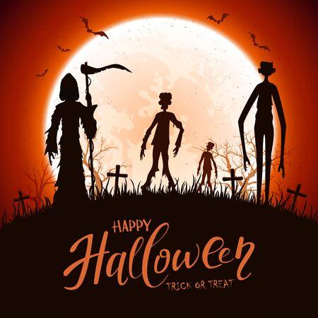 Ciemne sylwetki na cmentarzu. Noc Halloween tło. Karta z Ponurym Żniwiarzem, zombie, wysokim potworem, nietoperzami i pająkami. Ilustracja może służyć do projektowania wakacje, karty, zaproszenia i banery.