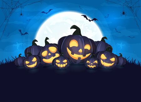 Happy pumpkins on Halloween background. Blue night with full moon. Card with Jack O' Lanterns, bats and spiders. Illustration can be used for children's holiday design, cards, invitations and banners.