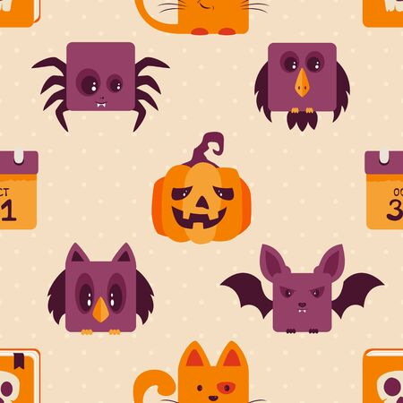 Seamless background with Halloween icons. Illustration with holiday elements can be used for backdrops, wrapper, holiday cards, childrens holiday or clothing design, cards, invitations and banners. Ilustração