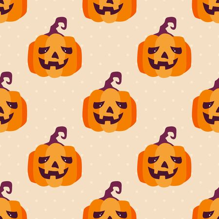 Seamless background with pumpkins. Halloween illustration with Jack O' Lanterns can be used for backdrops, wrapper, holiday cards, children's holiday or clothing design, cards, invitations and banners
