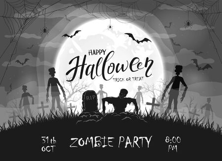 Dark silhouette sticks out of ground in cemetery. Black Halloween night background with zombies, bats and spider. Illustration can be used for children's holiday design, cards, invitations and banners