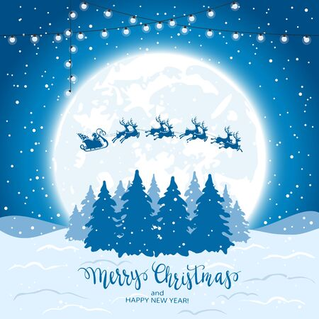 Lettering Merry Christmas and Santa with reindeers flies over Christmas trees on a blue snowy background. Illustration can be used for childrens holiday design, cards, invitations and banners. Illusztráció