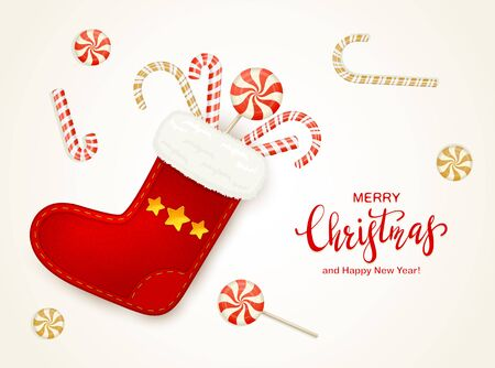 Red lettering Merry Christmas on holiday background with Christmas sock, sweets and candy canes. Illustration can be used for childrens holiday design, cards, invitations and banners.  イラスト・ベクター素材