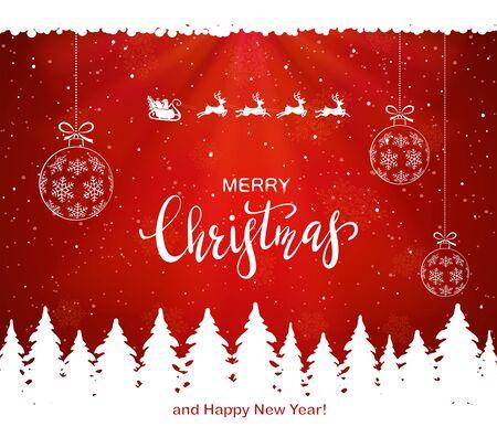 Bolas de Navidad y Santa con renos vuela sobre árboles de Navidad sobre un fondo rojo cubierto de nieve. La ilustración se puede utilizar para el diseño de vacaciones para niños, tarjetas, invitaciones y pancartas.