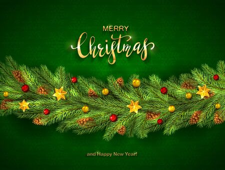 Decorations on green background. Golden stars, balls, fir tree branches with lettering Merry Christmas and Happy New Year. Illustration can be used for holiday design, cards, invitations and banners.