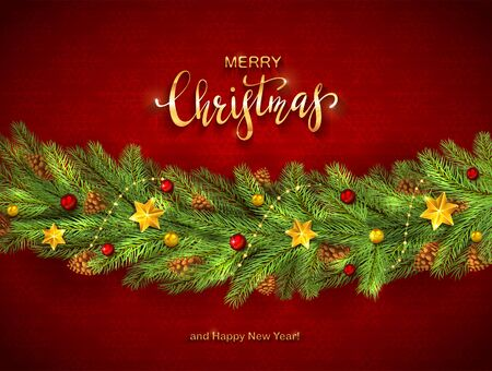 Decorations on red background. Golden stars, balls, fir tree branches with lettering Merry Christmas and Happy New Year. Illustration can be used for holiday design, cards, invitations and banners.