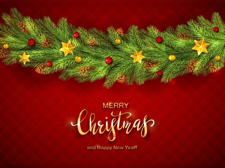 Red background with decorations. Golden stars, balls, fir tree branches, lettering Merry Christmas and Happy New Year. Illustration can be used for holiday design, cards, invitations and banners. Vektorové ilustrace