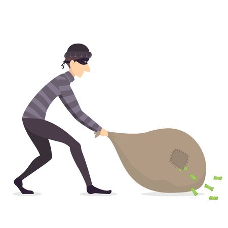 The thief or burglar drags a large sack from which banknotes falls. Robber in dark clothes with bag full of money isolated on white background. Dangerous masked criminal.