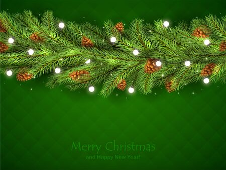 Christmas decorations with fir tree branches, pine cones and Christmas lights on green background. Illustration with lettering can be used for holiday design, cards, invitations, postcards and banners Vektorové ilustrace