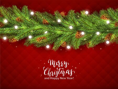 Christmas decorations with fir tree branches, pine cones and Christmas lights on red background. Illustration with white lettering can be used for holiday design, cards, invitations, postcards, banner
