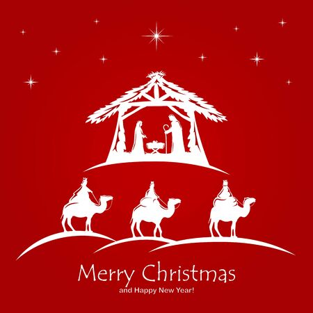 Christian Christmas. Birth of Jesus, shining star and three wise men on red background. Illustration can be used for holiday design, cards, clothing or things design, invitations, postcard and banners