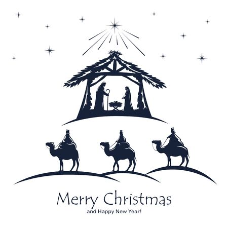 Christian Christmas. Birth of Jesus, shining star and three wise men on white background. Illustration can be used for holiday design, cards, clothing or things design, invitations, postcards, banners Ilustracja