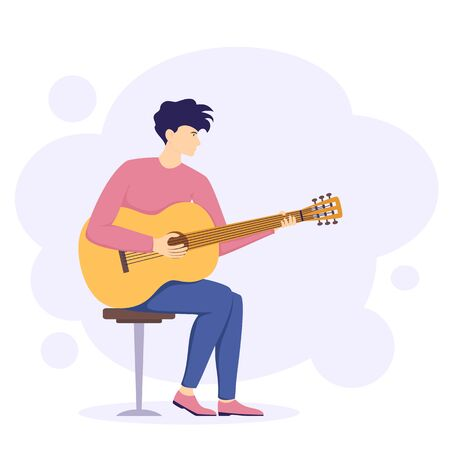 Guy sits on chair and plays on guitar. Young man plays an acoustic musical instrument. Illustration can be used for holiday design, cards, clothing or things design, invitations and banners. Ilustracja
