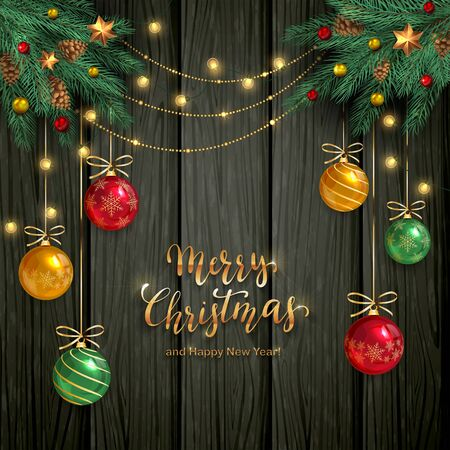 Black wooden background with fir tree branches, Christmas lights, balls and stars. Golden lettering Merry Christmas. Illustration can be used for holiday design, cards, invitations and banners.