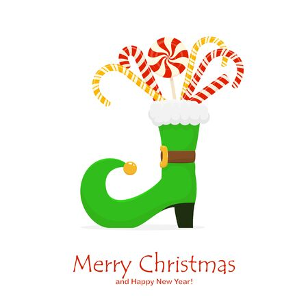Christmas theme. Green elf boot with candy canes and sweets isolated on white background. Holiday illustration can be used for holiday card, children's clothing or things design, invitations, banners.