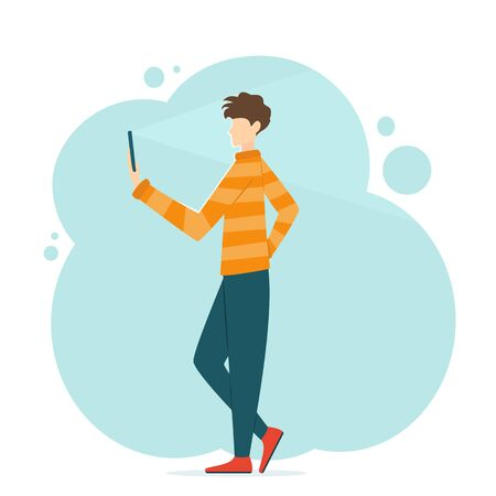 Cute young Man takes selfie on a smartphone. Guy holds the phone in his hand and takes video or photo. Illustration in cartoon flat style can be used for clothing or things design, banners, app store.