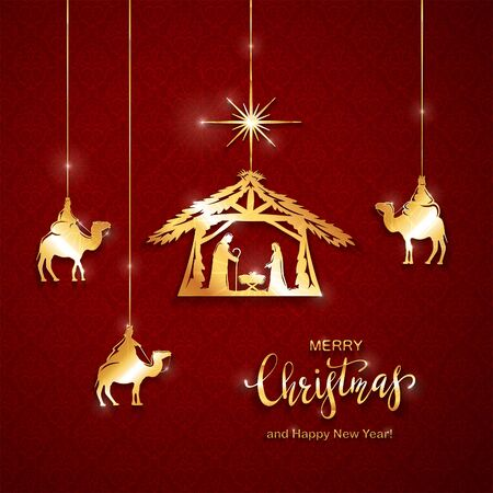 Christian Christmas theme. Golden elements on red background. Birth of Jesus, shining star and three wise men. Illustration can be used for holiday design, cards, invitations, postcards, banners.