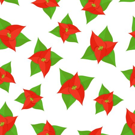 Seamless pattern with paper poinsettia on white background. Illustration with Christmas flower can be used for backdrops, wrapper, wallpaper, holiday cards, childrens clothing or things design.