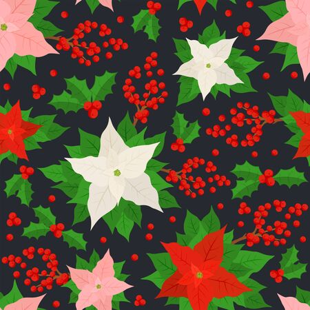 Seamless pattern with Christmas flower poinsettia and holly berries on black background. Illustration can be used for backdrops, wrapper, wallpaper, holiday cards, childrens clothing or things design Stock Illustratie