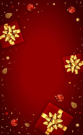 Christmas card with balls, holiday decorations, gifts with golden bow, pine cones and shiny stars on red background. Illustration can be used for Christmas design, posters, cards, websites, banners.