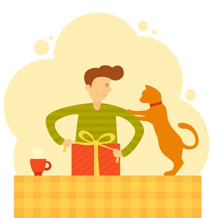 Man and cat pack a gift. Friendly pet helps a guy wrap a gift for Christmas or new year. Cute animal and boy are preparing for the holiday. Flat cartoon illustration can be used for holiday design. Vetores
