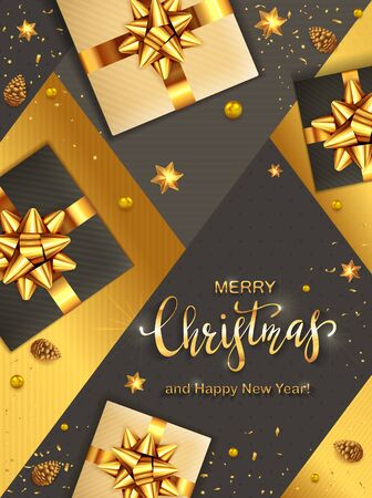 Black and gold Christmas background. Golden lettering with balls, pine cones, gifts with holiday bow and shiny stars. Illustration can be used for Christmas design, posters, cards, websites, headers.