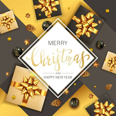 Black and gold Christmas background and card with holiday lettering. Balls, pine cones, gifts with golden bow, stars. Illustration can be used for Christmas design, posters, cards, websites, headers. Ilustrace